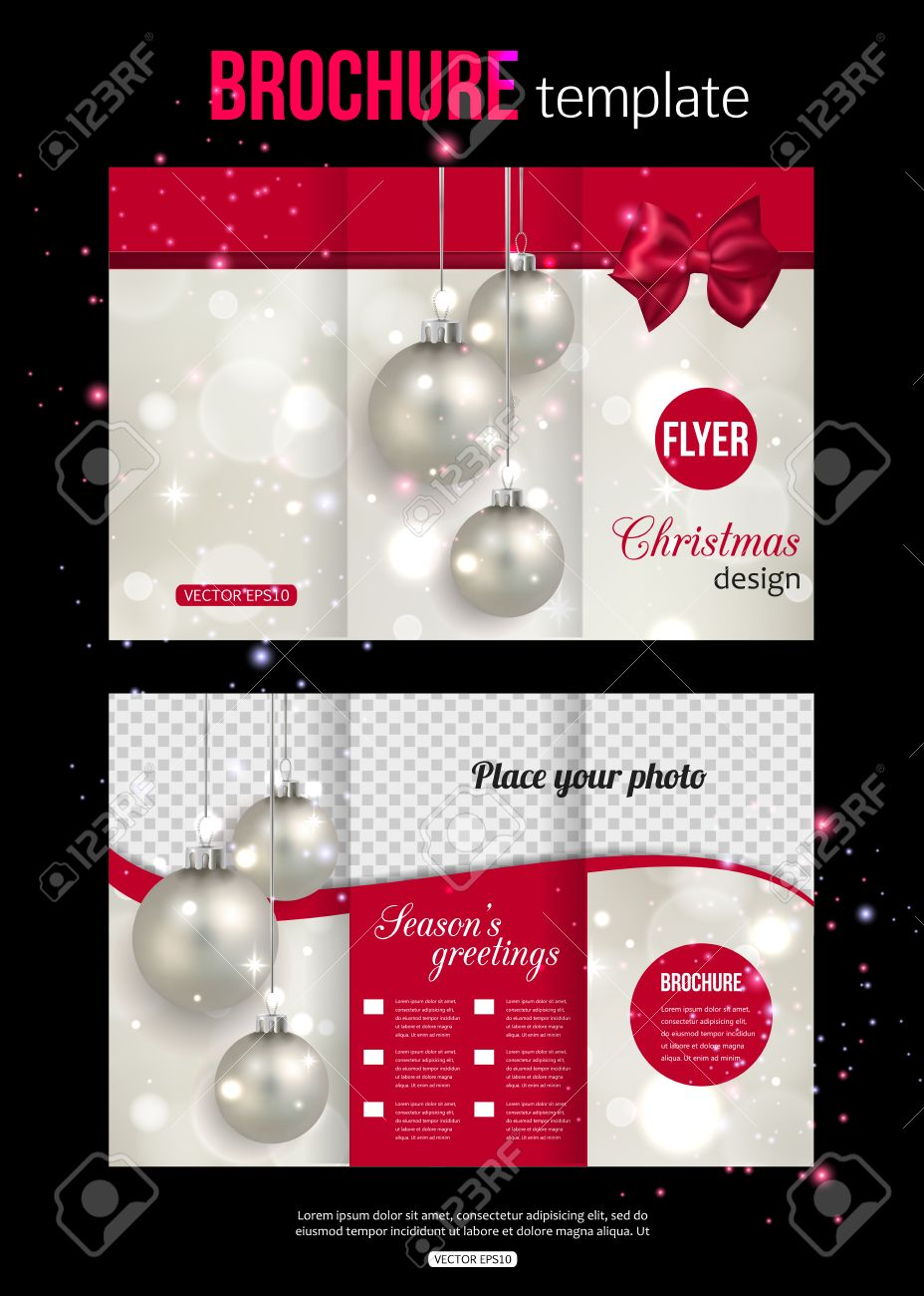 Christmas Trifold Brochure Template. Abstract Flyer Design With ...