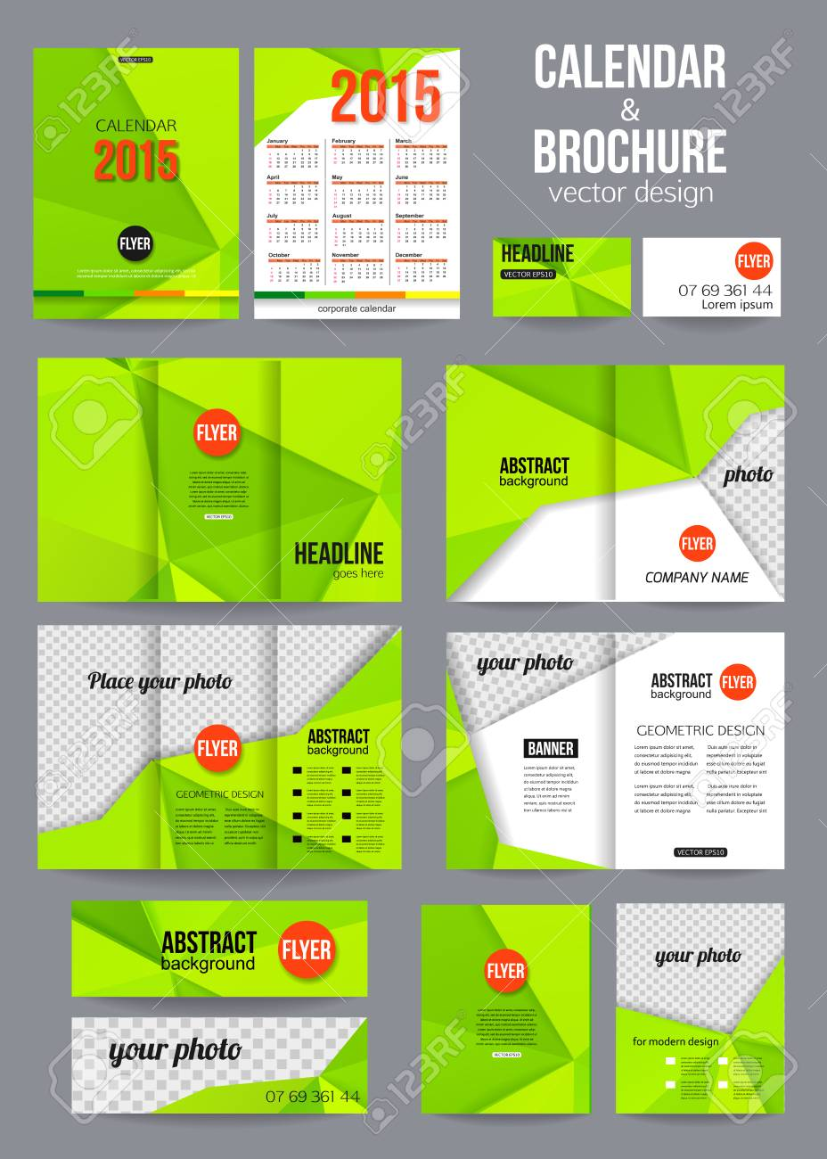 Set of corporate business stationery templates abstract brochure set of corporate business stationery templates abstract brochure and 2015 calendar design modern back accmission Gallery