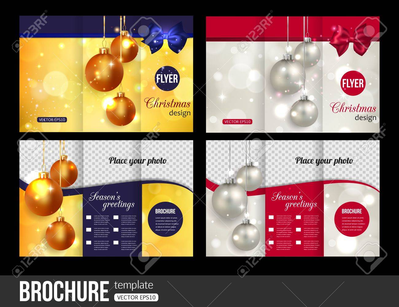 christmas trifold brochure templates abstract flyer design christmas trifold brochure templates abstract flyer design xmas bows blurred bokeh lights and
