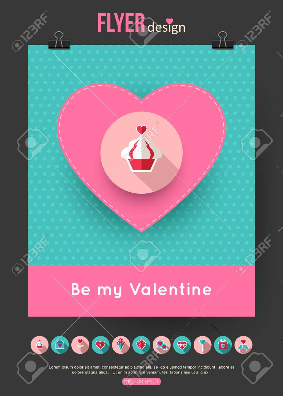 Valentines Day Brochure Template And Set Of Flat Valentines Day - Valentine flyer template free