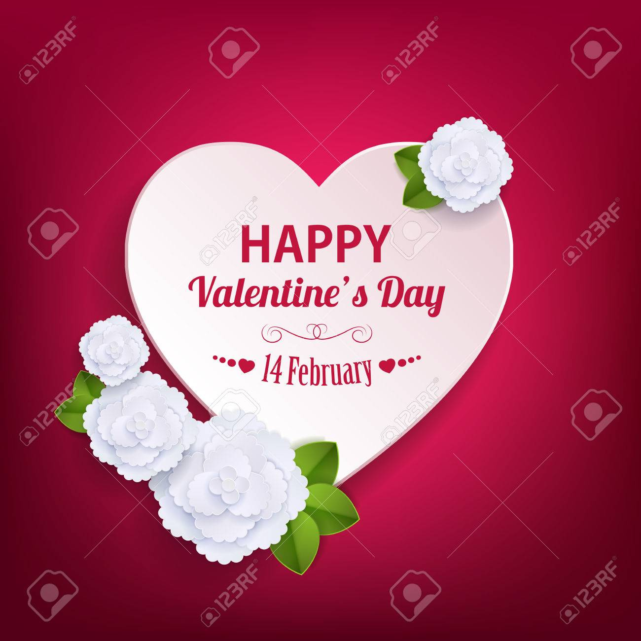 Valentines Day Typographical Background With Paper Heart And ...