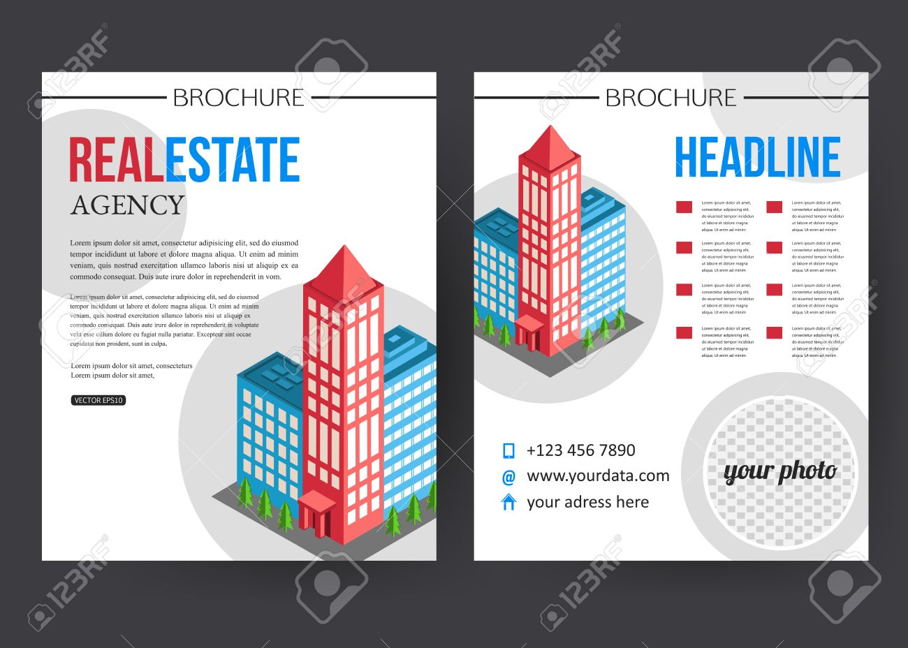 flat isometric city real estate brochure template place flat isometric city real estate brochure template place for text and place for photo