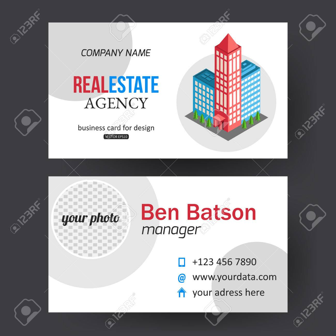 Flat isometric city real estate business card template with place flat isometric city real estate business card template with place for text and place for photo colourmoves