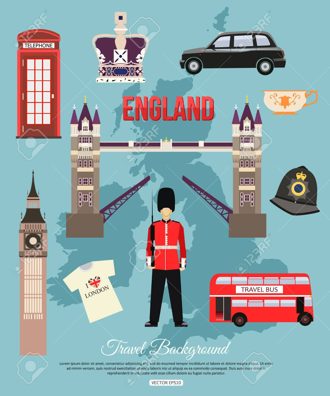 England travel background with place for text set of colorful flat england travel background with place for text set of colorful flat icons england symbols biocorpaavc Images