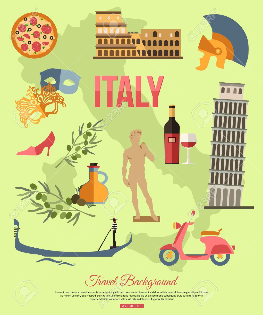 Italy travel background with place for text set of colorful flat italy travel background with place for text set of colorful flat icons italy symbols biocorpaavc Images