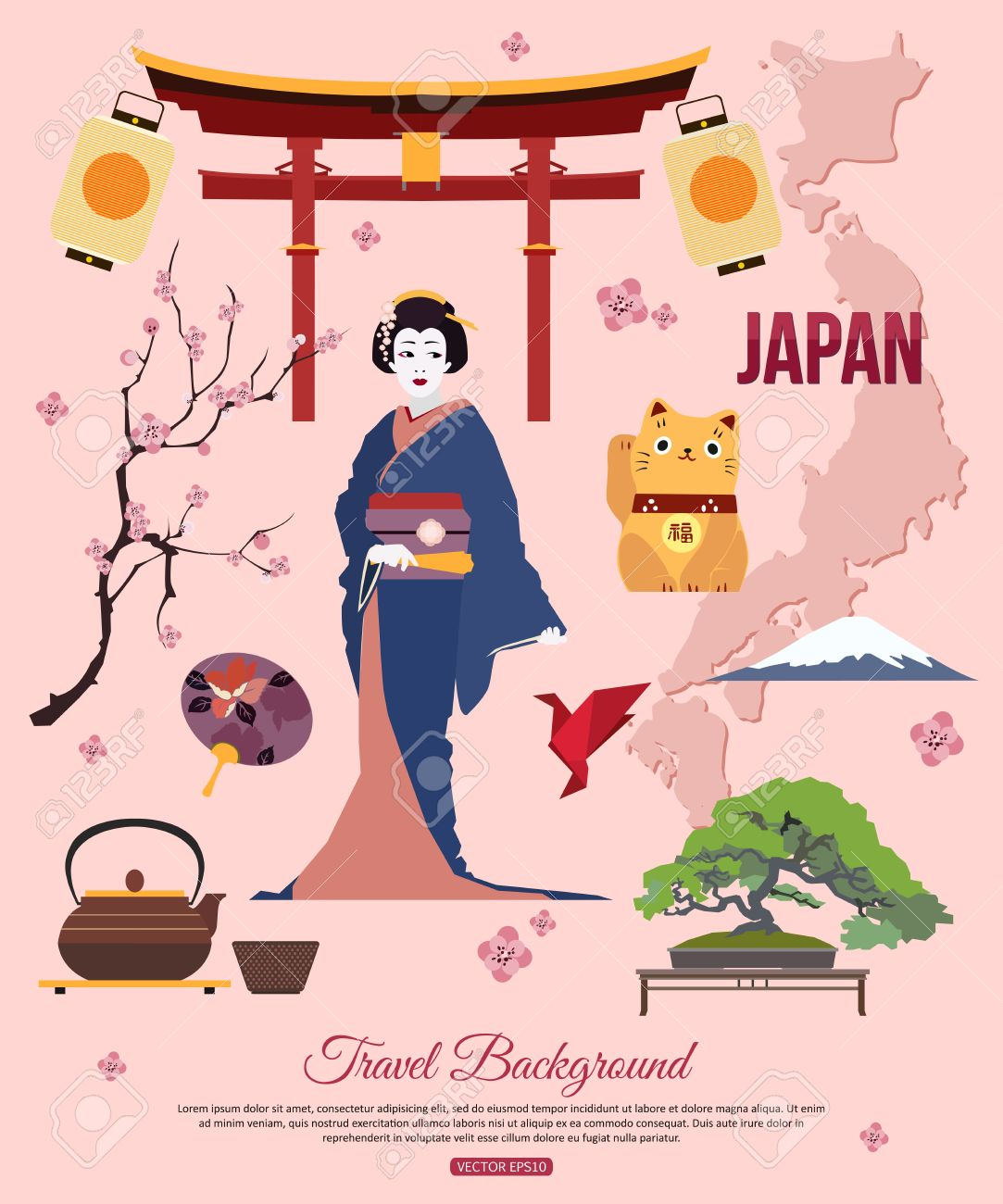 Japan travel background with place for text set of colorful flat japan travel background with place for text set of colorful flat icons japan symbols biocorpaavc Images