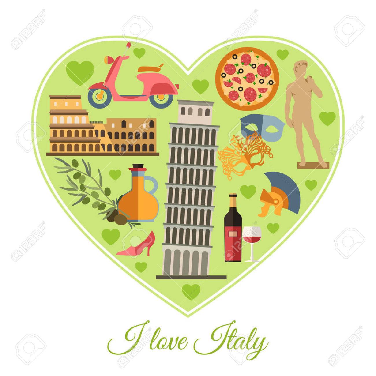 I Love Italy Italy Travel Background With Place For Text Isolated