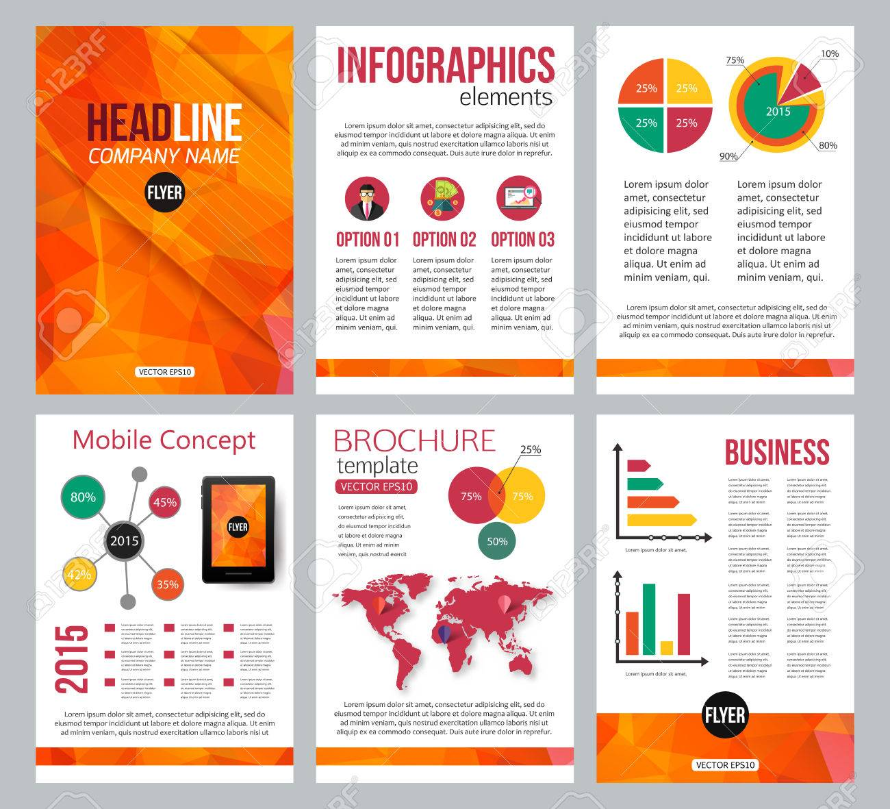 Set Of Corporate Business Stationery Brochure Templates. Back ...