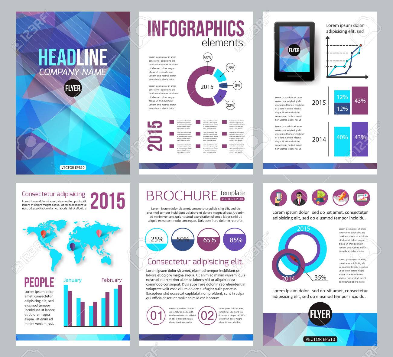 Set Of Corporate Business Stationery Brochure Templates Back And - Brochure online template