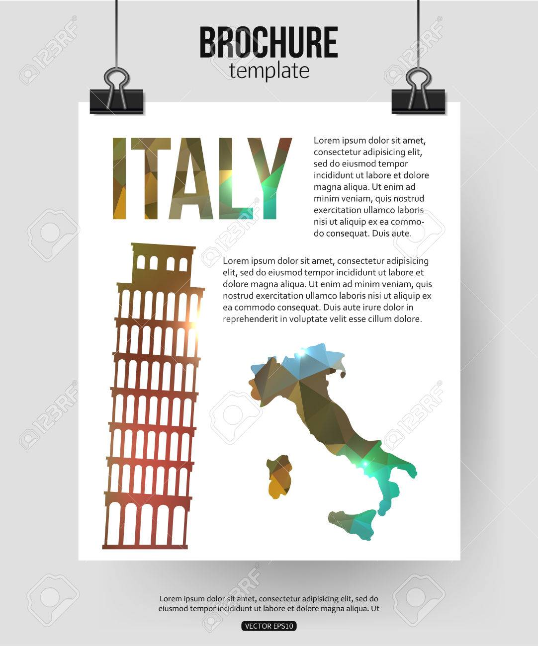 Italy travel background brochure with italy map pisa label or logo brochure with italy map pisa label or logo and place for biocorpaavc Images