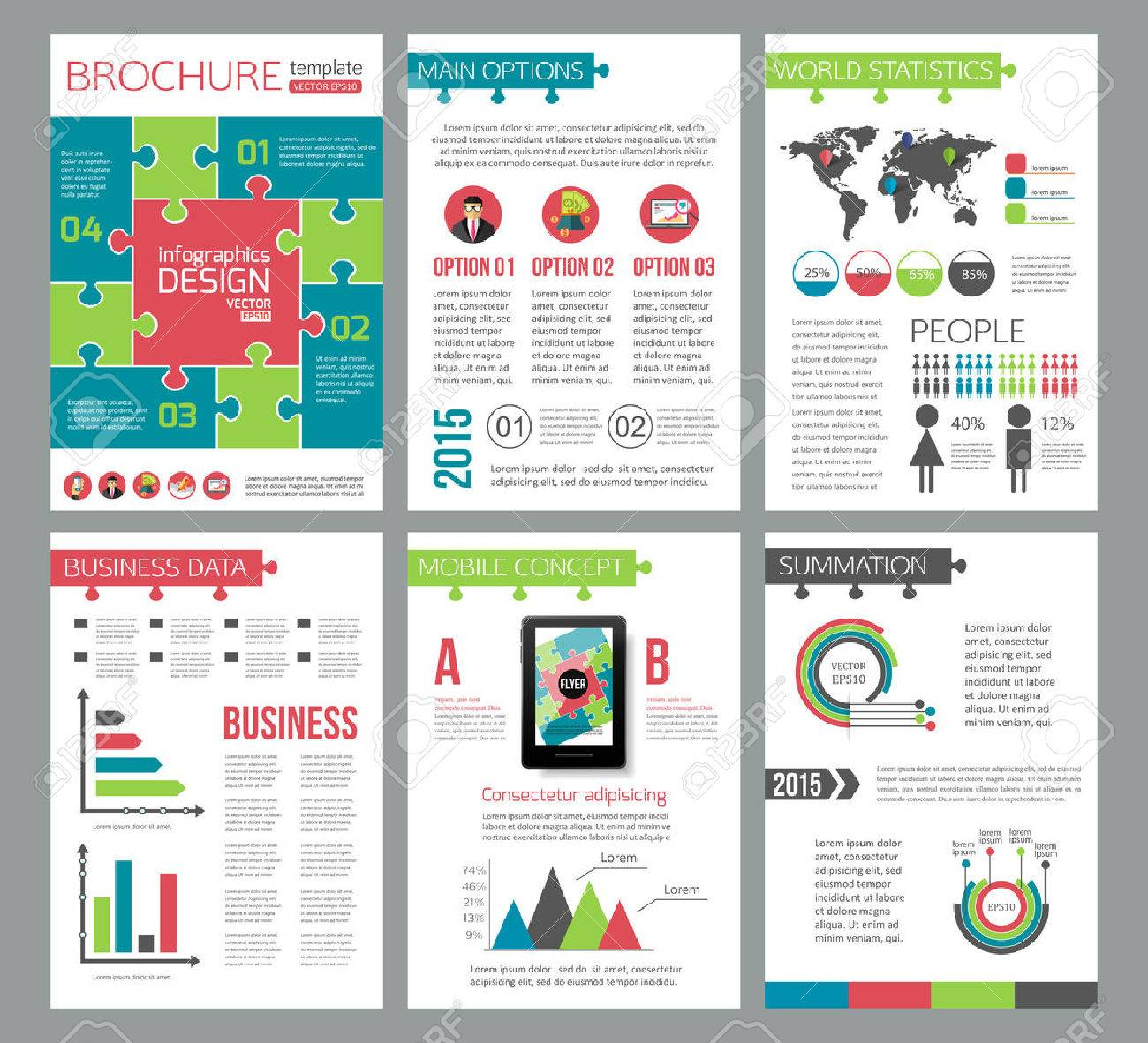 Set Of Corporate Business Stationery Brochure Templates Puzzle - Advertising brochure templates