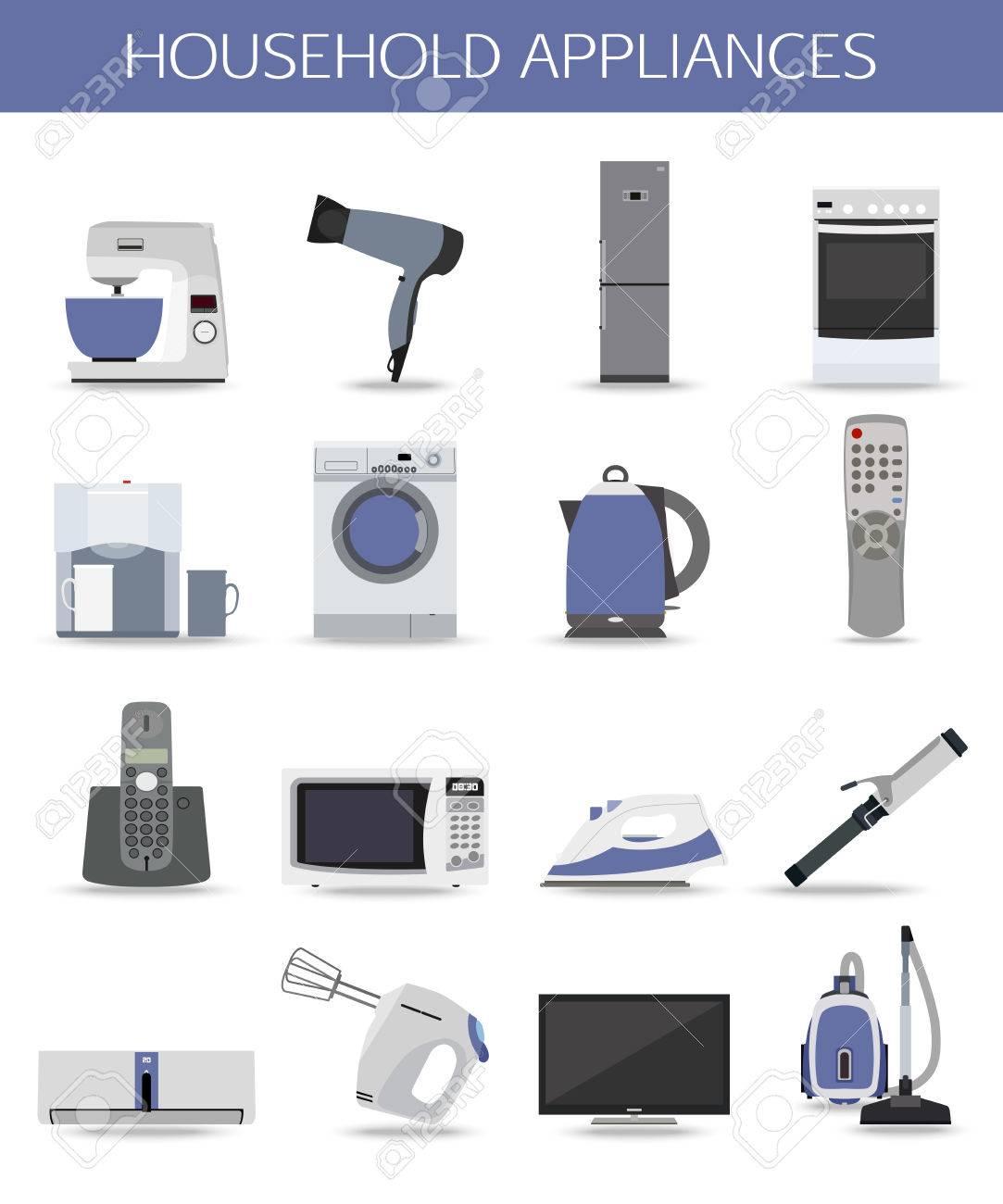 Set Von Haushaltsgeräten Und Elektronische Geräte Getrennt Symbole ...
