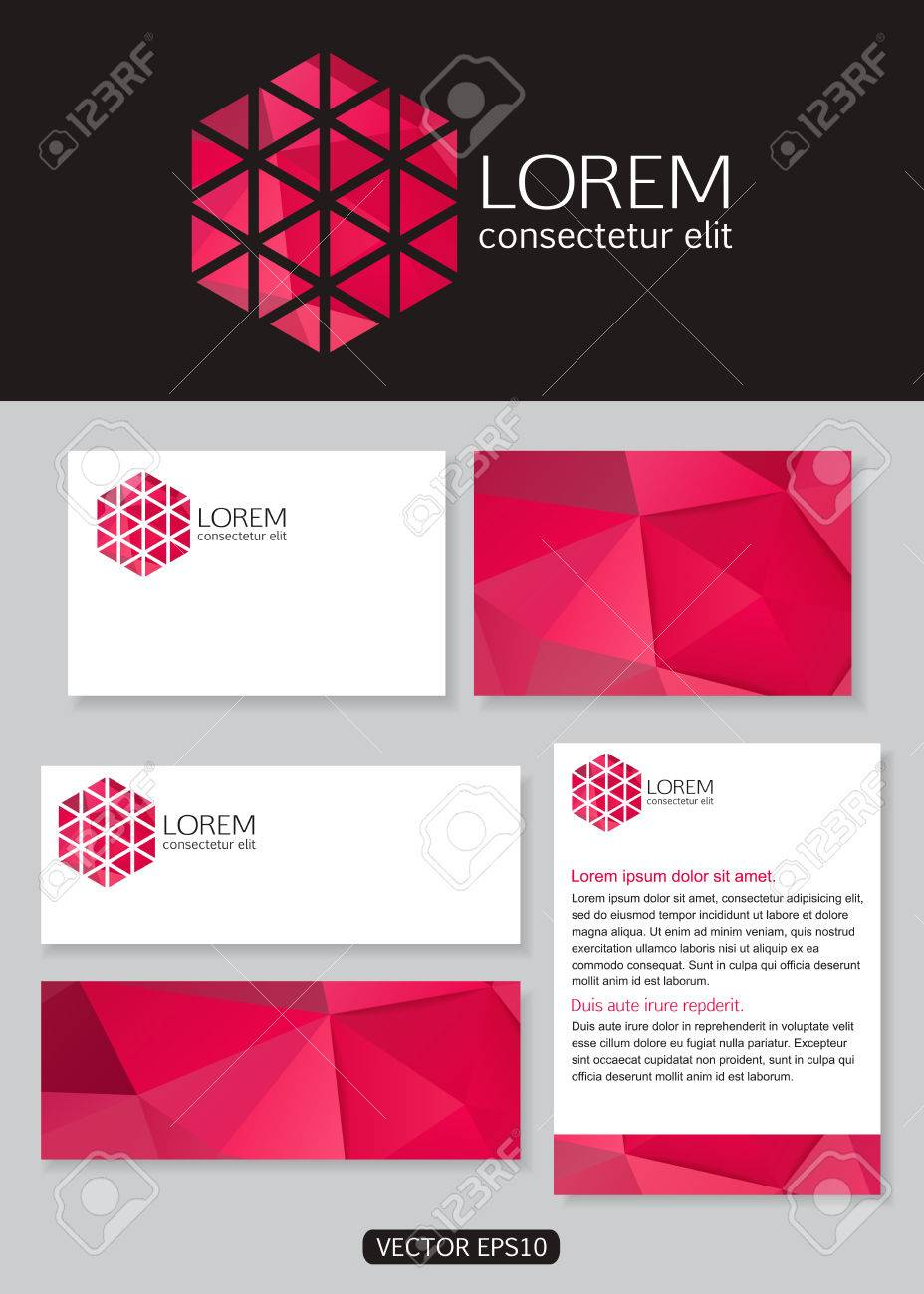 Geometric pink logo icon design with business cards banners geometric pink logo icon design with business cards banners and documentation for business vector colourmoves Image collections