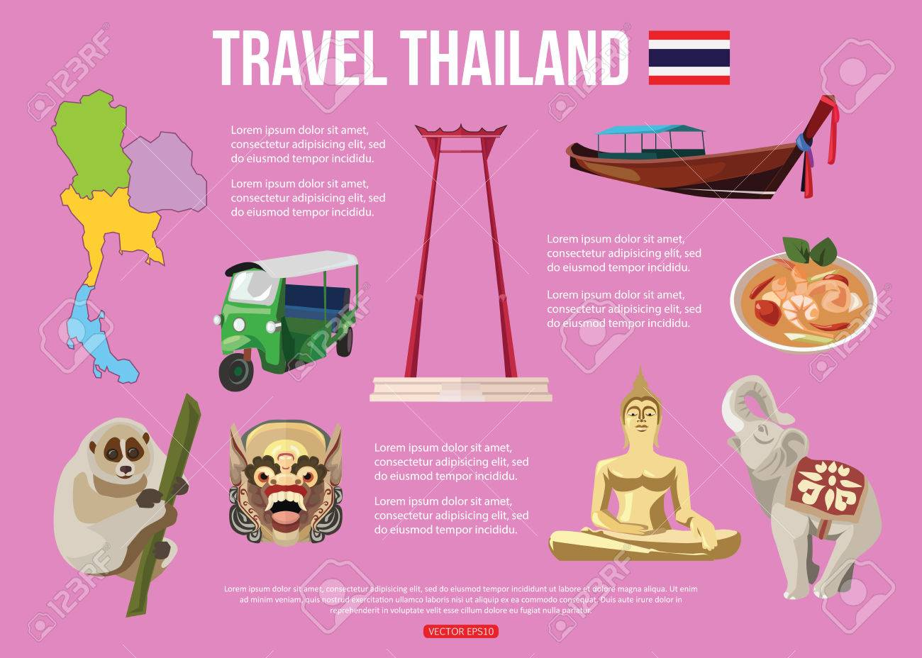 Thailand travel background with place for text set of colorful flat thailand travel background with place for text set of colorful flat icons thai symbols biocorpaavc Images