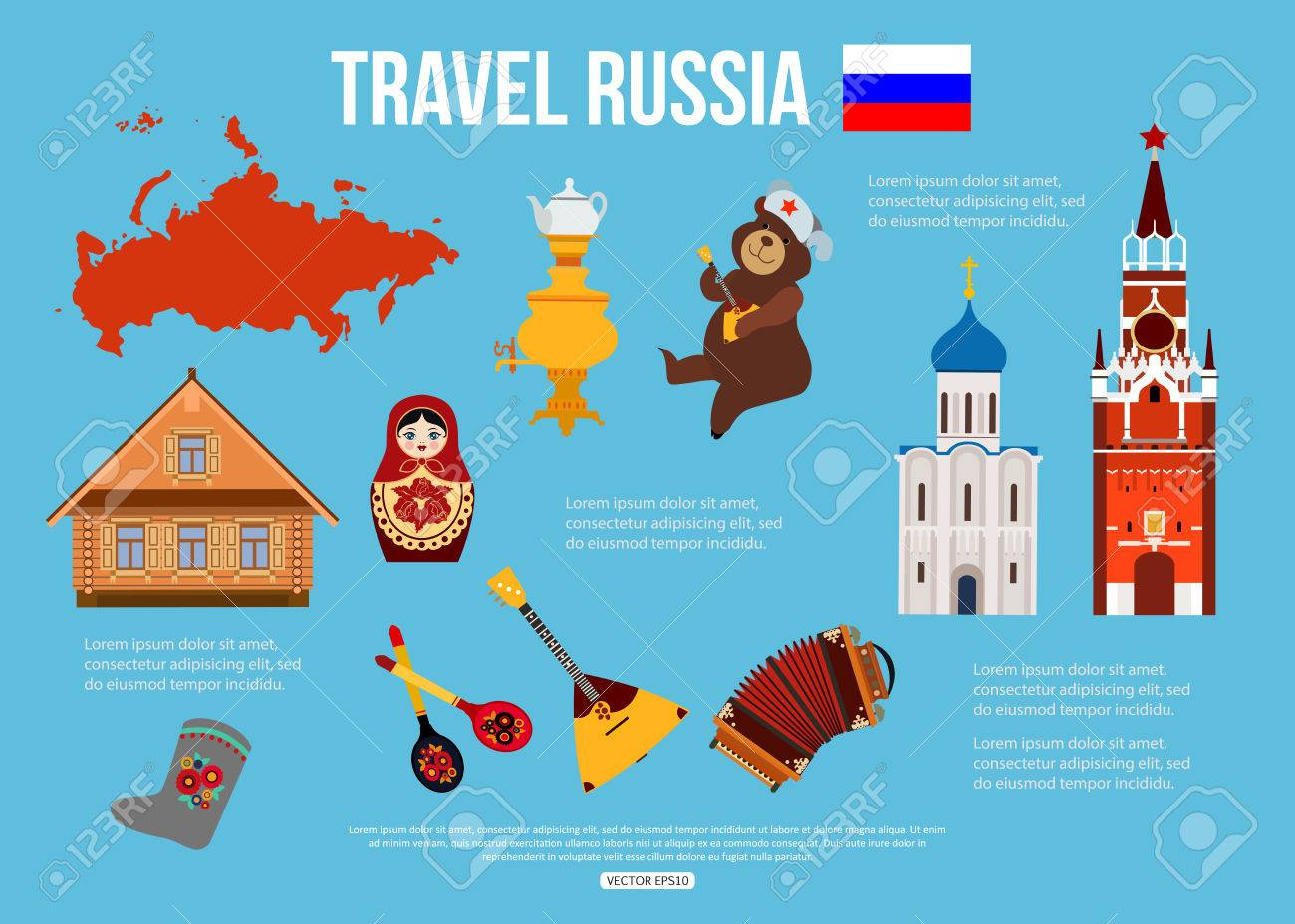 Russia Travel Background With Place For Text Set Of Colorful Flat