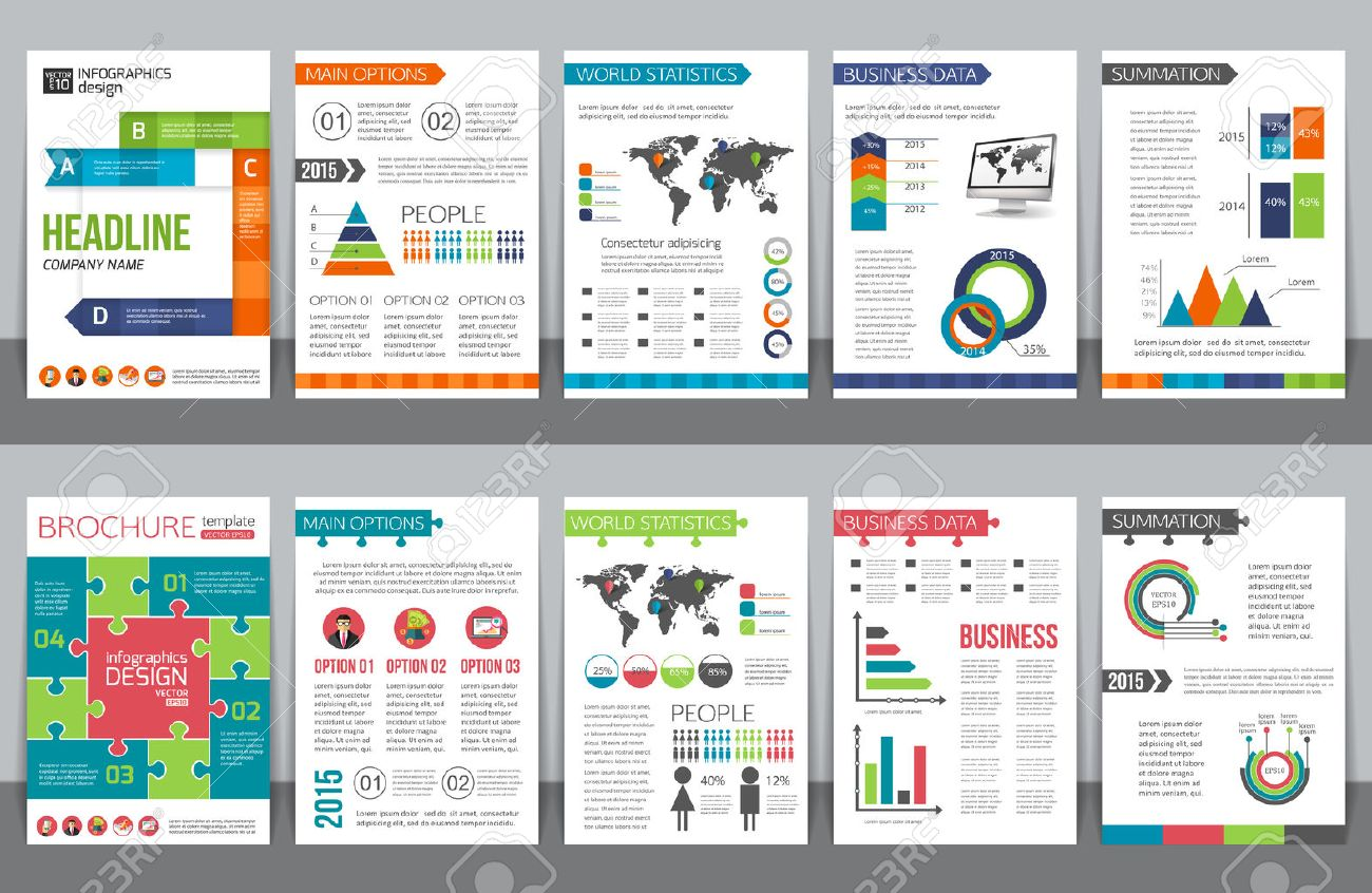 Set Of Corporate Business Stationery Brochure Templates With ...