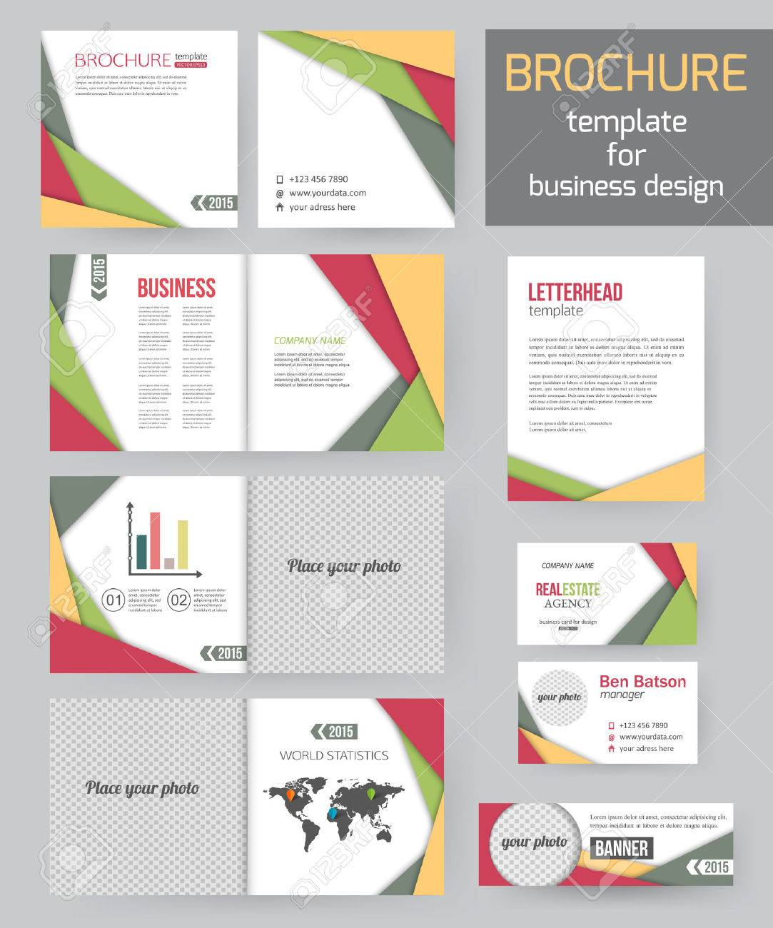 Set of corporate business stationery brochure templates with set of corporate business stationery brochure templates with infographics elements abstract geometric background for flyer cheaphphosting Gallery