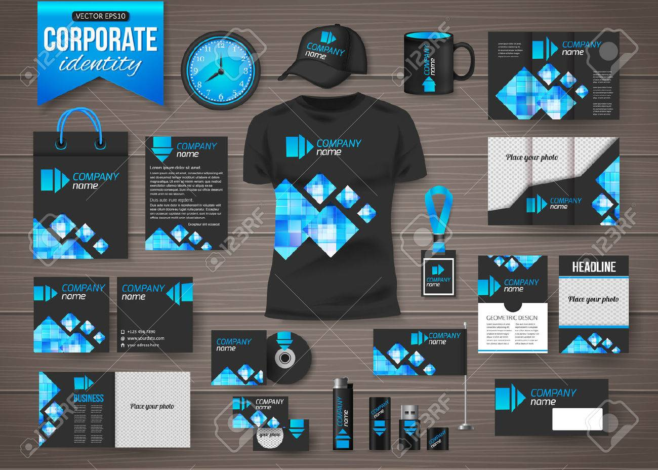corporate identity business photorealistic design template over
