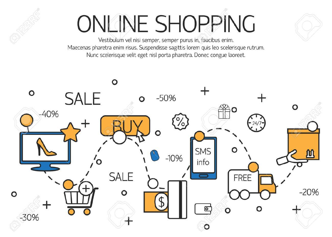 ecec2c9aa0 Foto de archivo - Las compras en línea esquema concepto de proceso de  compra en la tienda online. Ilustración del vector.