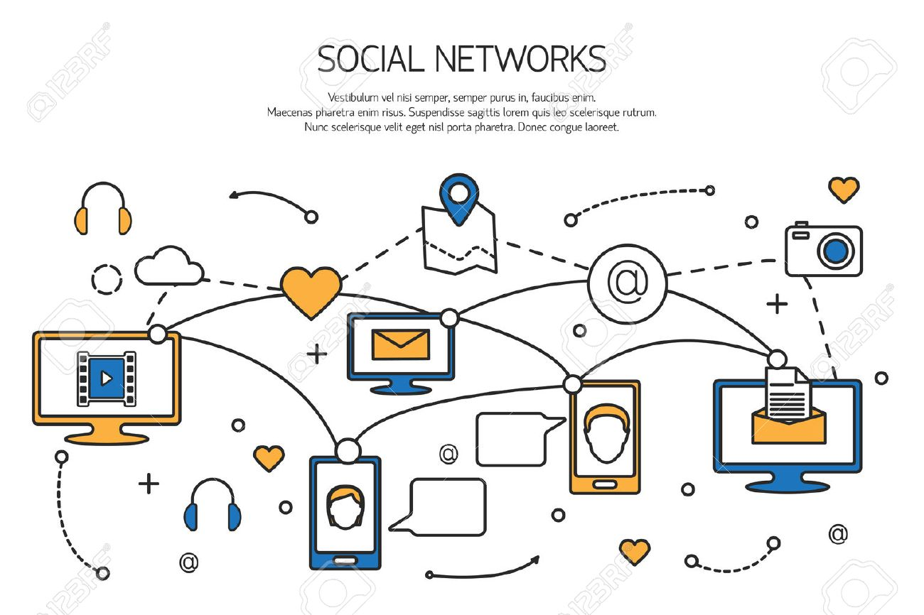 Social network outline concept of communication process in internet, mobile phones, computers. Vector illustration. Stock Vector - 48085845
