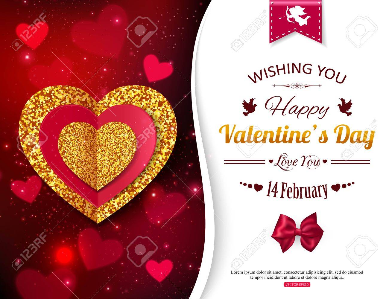 Valentines Day Background With Gold And Red Hearts. Valentines ...