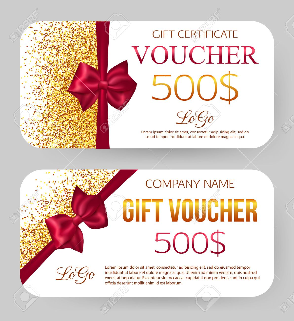 Gift voucher template golden design for gift certificate coupon gift voucher template golden design for gift certificate coupon golden dust 500 yadclub Choice Image
