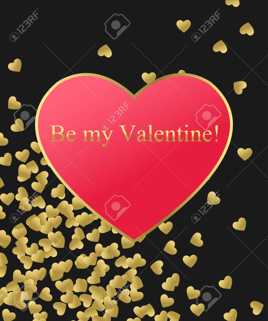 Happy Valentines Day Gold Background. Gold And Red Heart With ...