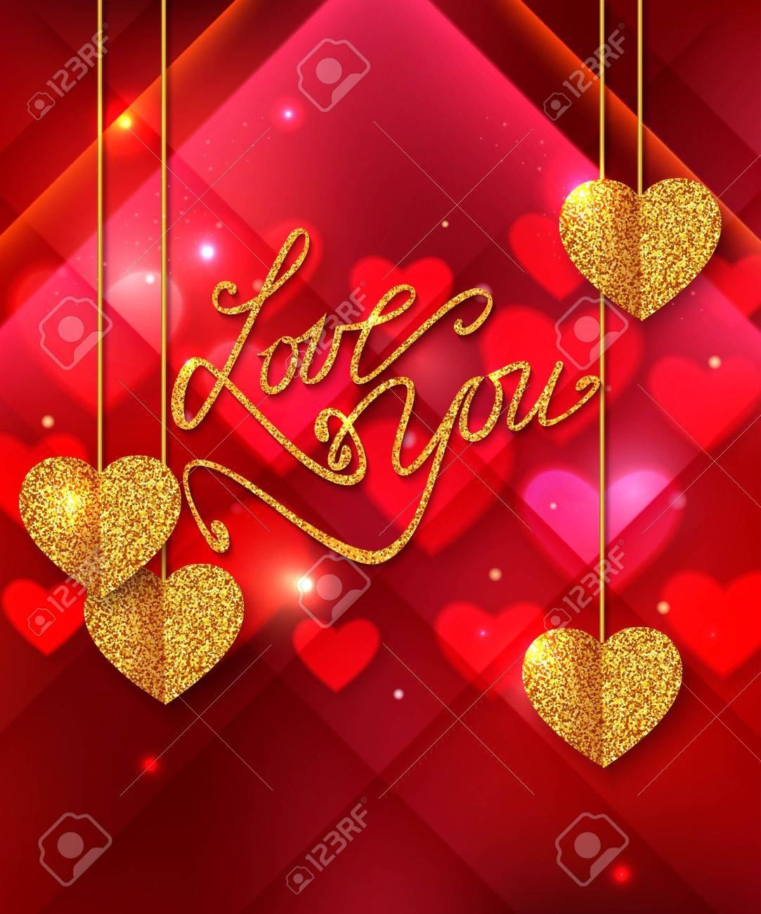 Love You Shining Background Gold Heart Valentines Day Greeting