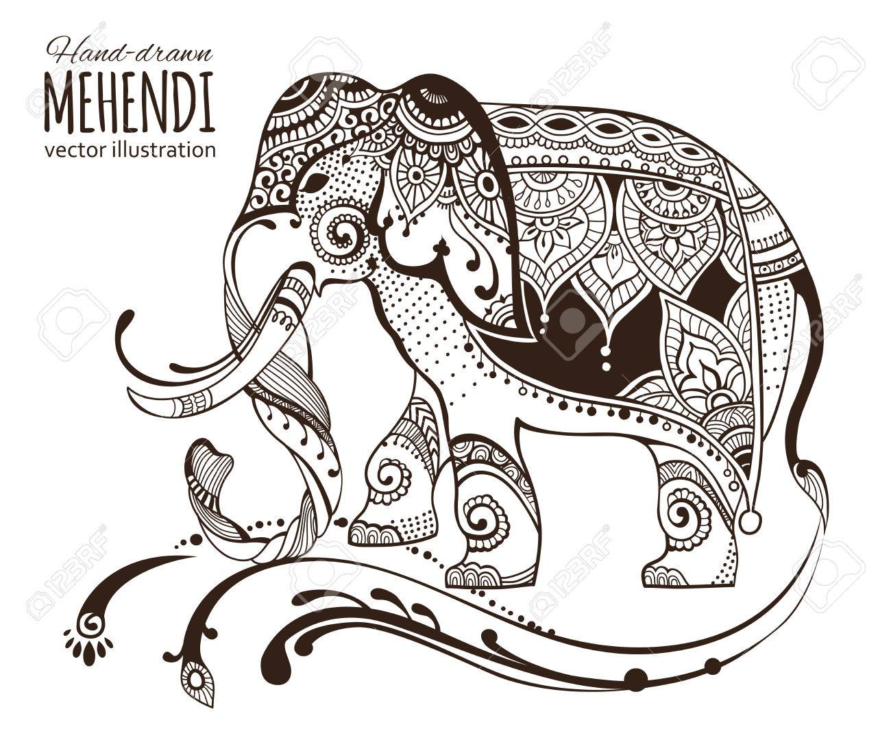 Elefante Mehendi Dibujado A Mano. ,, Diseño Africano étnico Indio ...