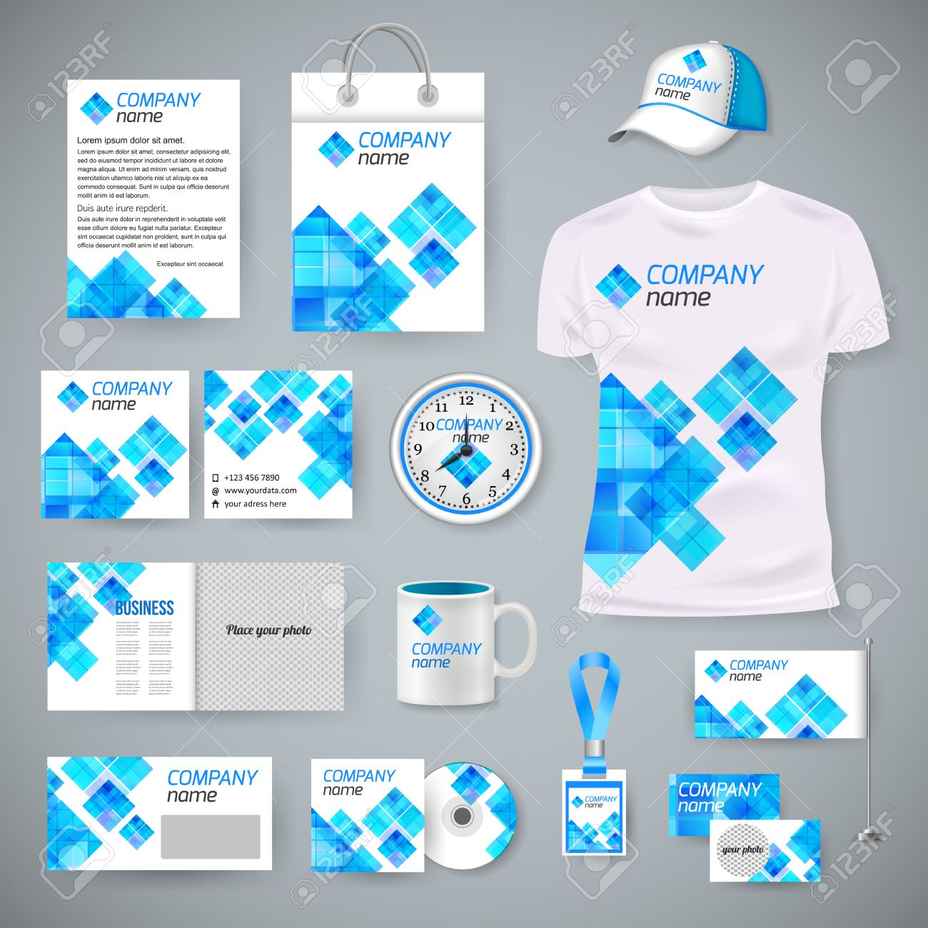 corporate identity business photorealistic design template classic