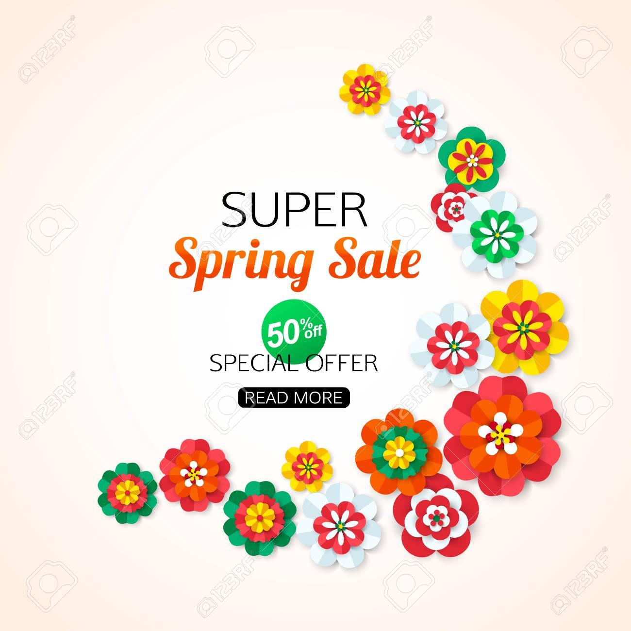 Super Spring Sale Banner. Super Spring Sale - 50% DE DESCUENTO. Flor ...