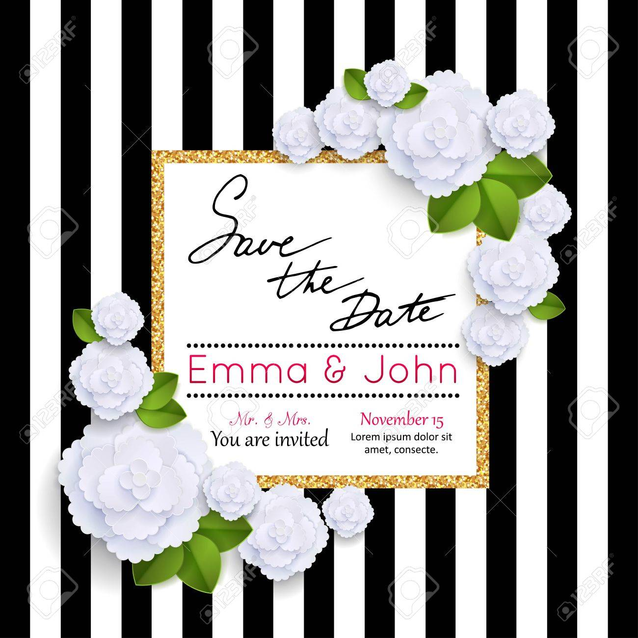 Save the date cards with paper flowers and gold frame. Marriage invitation card. Wedding invitation card. Vector illustration. - 55411167