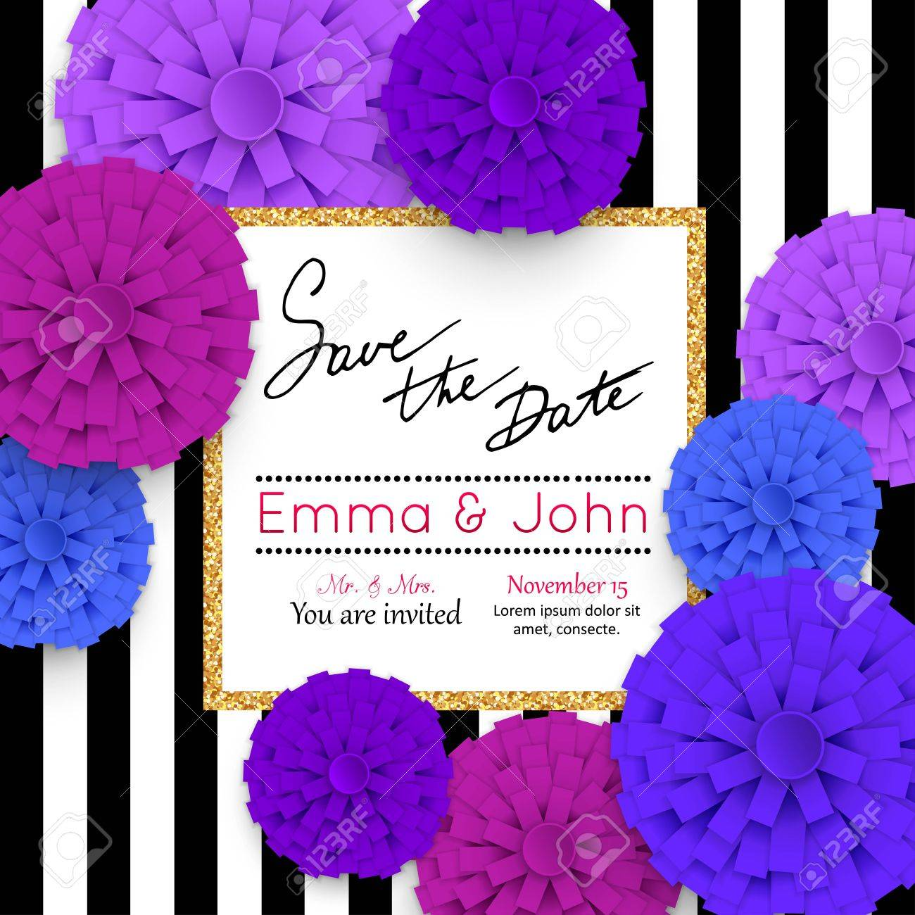 Save The Date Cards With Paper Flowers And Gold Frame. Marriage ...
