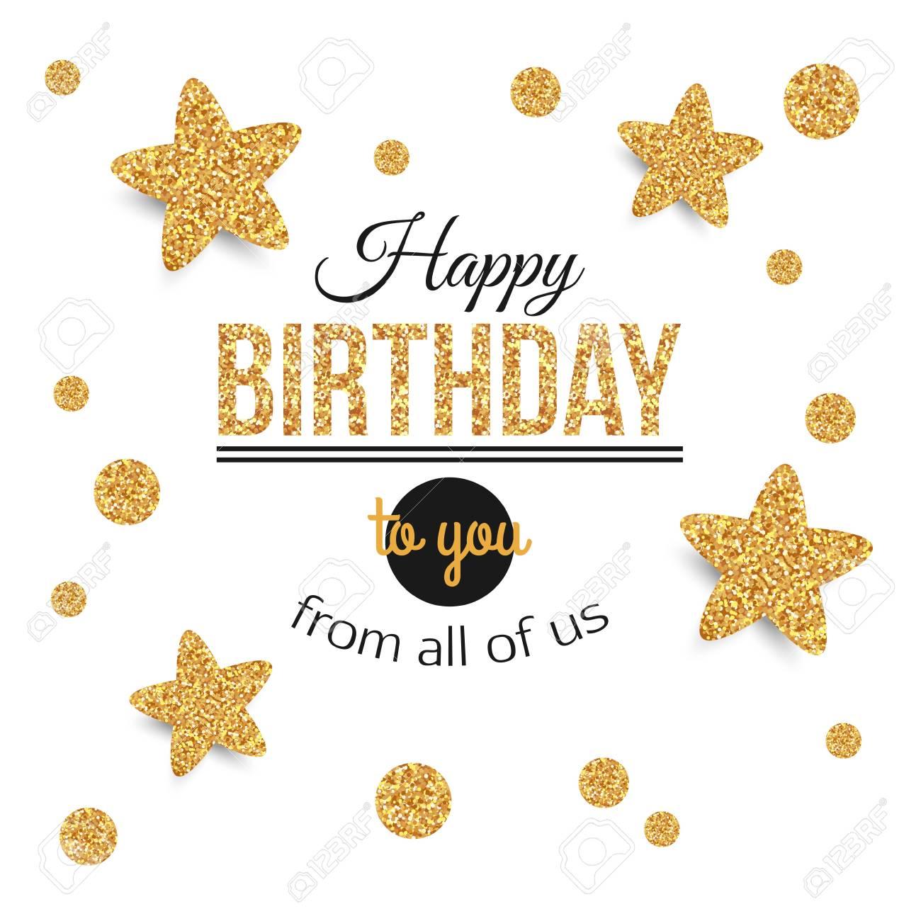 Geburtstag Hintergrund Mit Goldenen Sternen, Tupfen. Geburtstag ...