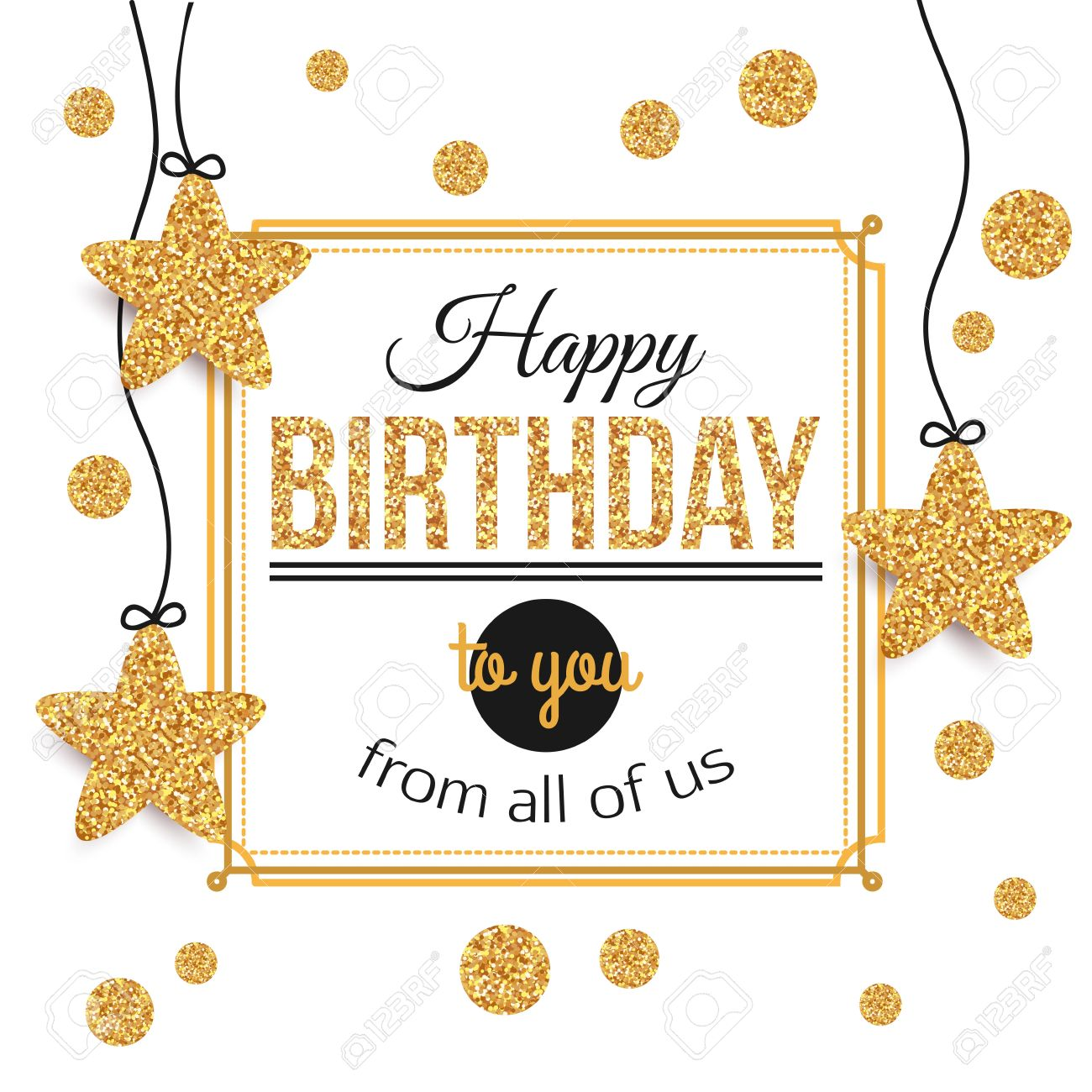 Birthday background with gold stars, polka dots. Birthday - gold text.Happy Birthday template for banner, flyer, brochure, gift certificate, party invitation. Birthday card. Vector illustration. - 55947324