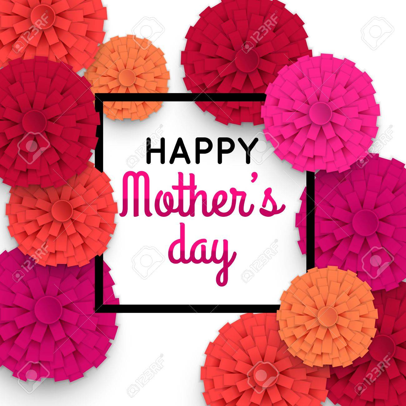 Happy Mothers Day floral greeting card. Mothers Day bacground with paper flowers. Vector illustrator. - 55947472
