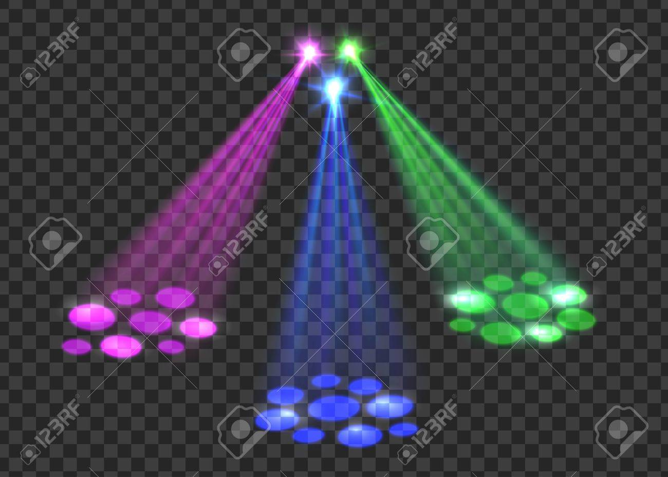 Concert Light Over Transparent Background Abstract Scene With Red Green Blue Lights For