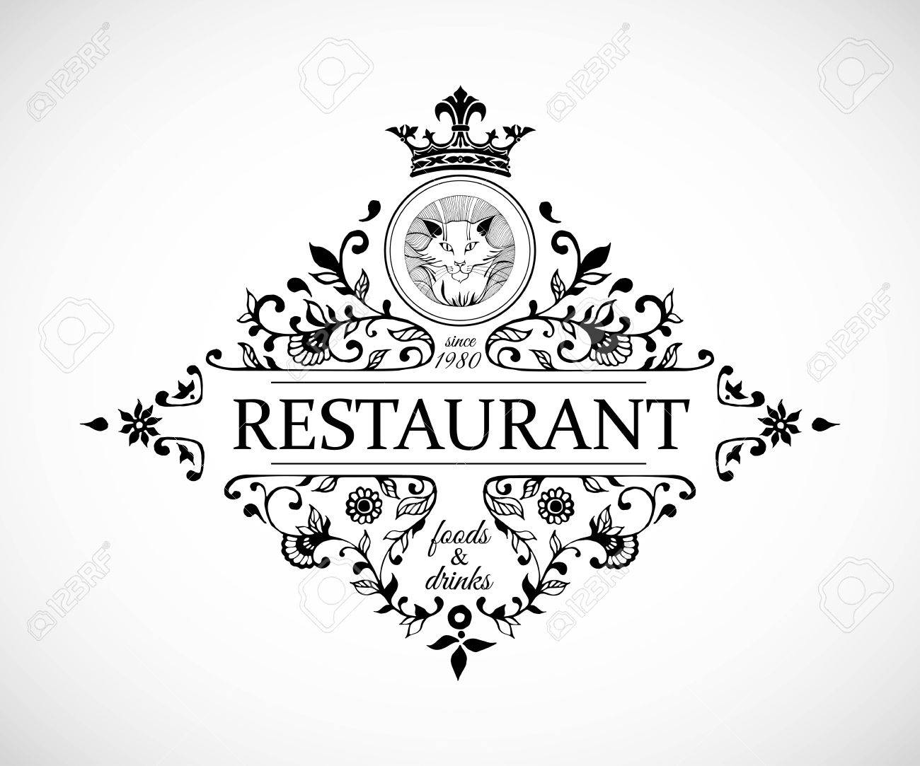Monogram Design For Restaurant. Luxury Logo Template For Restaurant ...