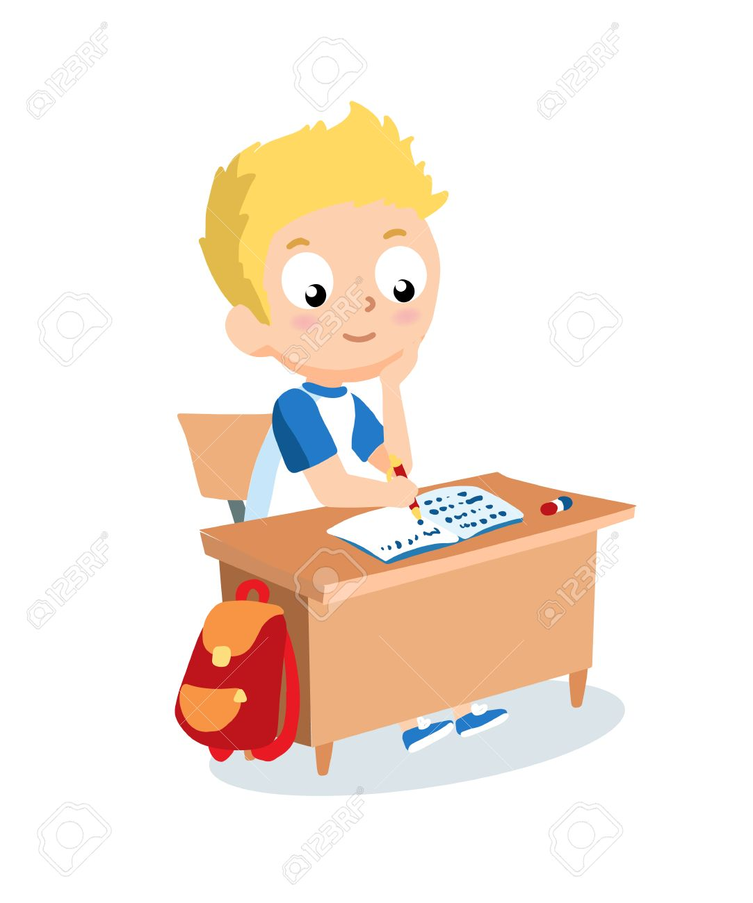 Tisch schule clipart  Schüler In Der Schule Schreibtisch Sitzen. Schüler Vektor-Cartoon ...