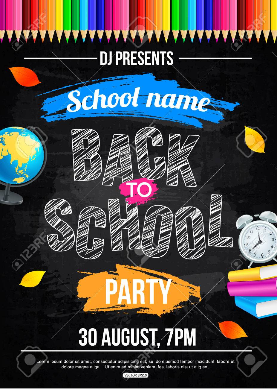 Back To School Party Poster Template Royalty Free Cliparts Vectors