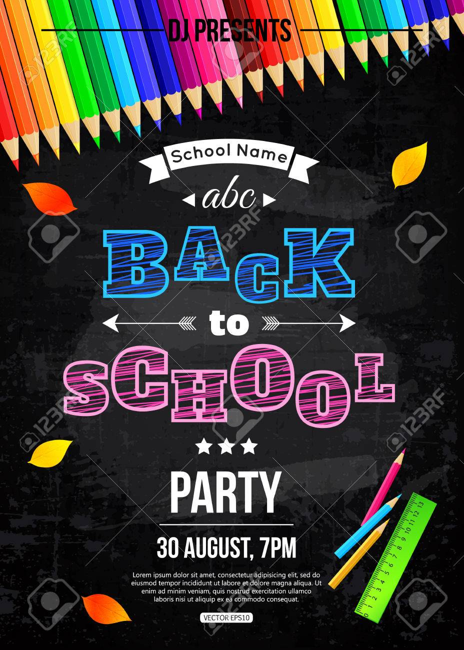 Back To School Party Poster Template Royalty Free Cliparts, Vectors ...