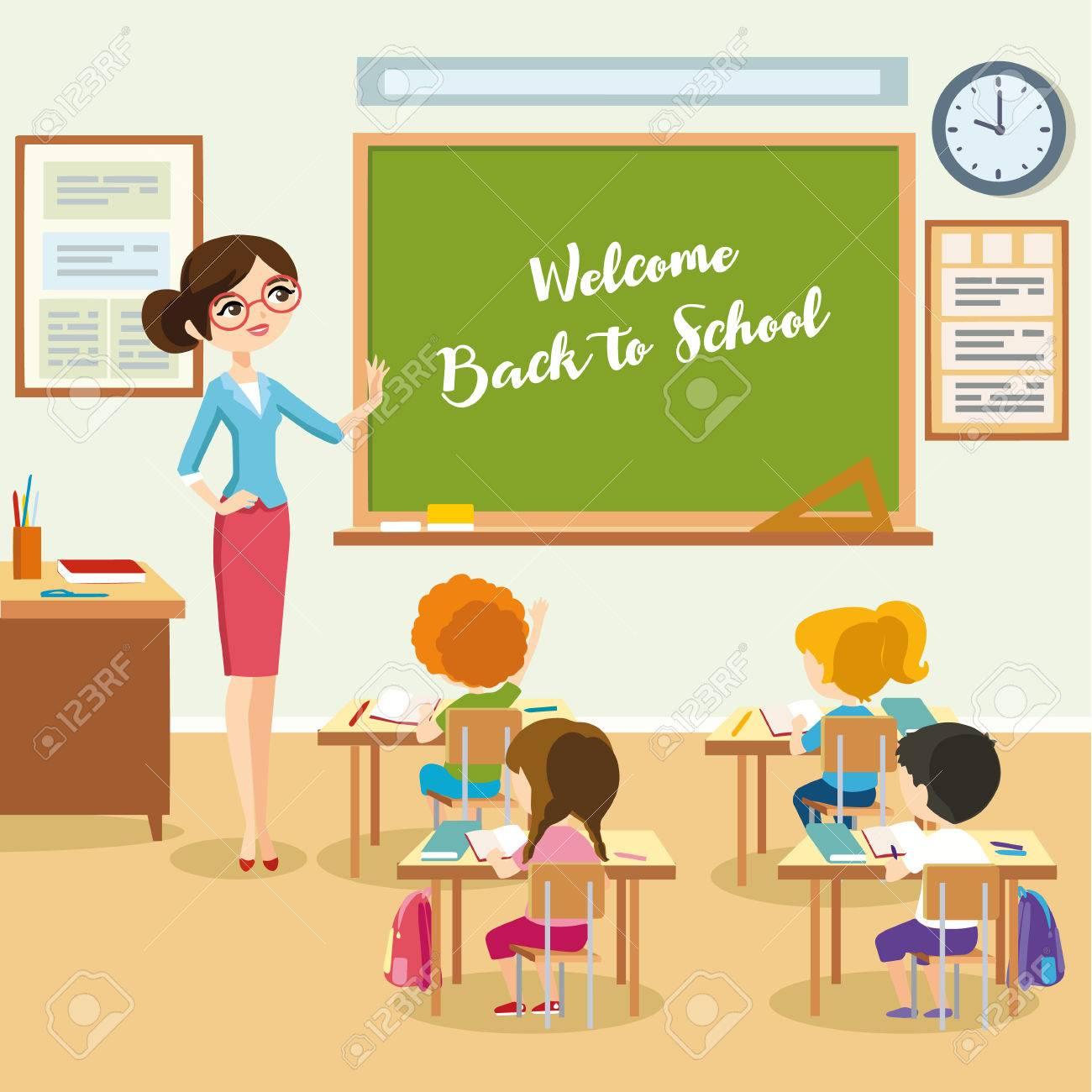 school lesson students listen teacher in the classroom children