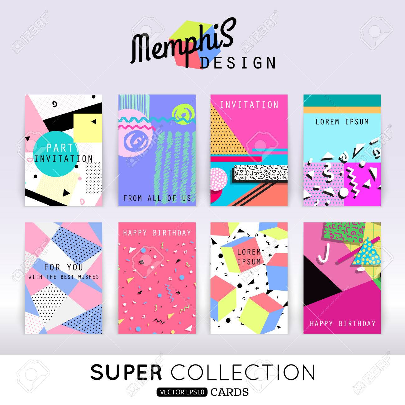 set of memphis card template abstract geometric shapes pattern