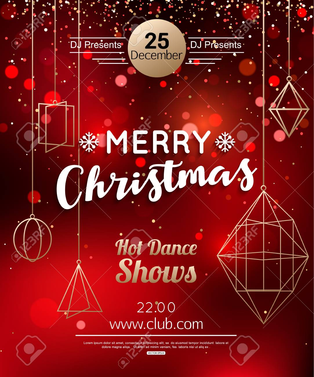 Christmas Party Flyer.Christmas Party Flyer Or Poster Design Template