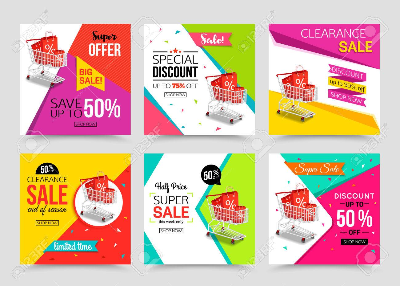 collection of modern sale banner template vector illustrations