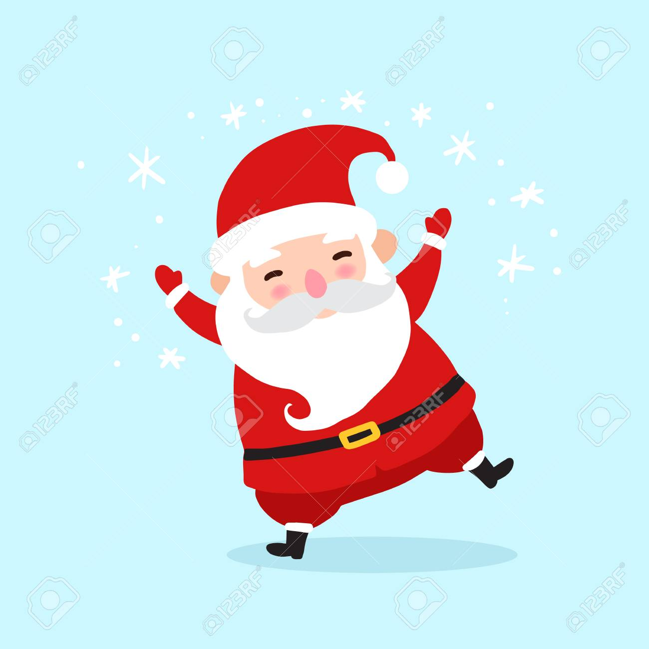 Dancing Santa Claus Cartoon Character Icon Isolated On Blue Background Royalty Free Cliparts Vectors And Stock Illustration Image 67181339