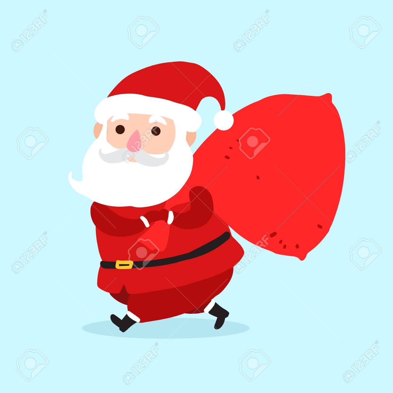Immagini Babbo Natale Con Sacco.Babbo Natale Con Icona Di Personaggio Dei Cartoni Animati Di Sacco Isolato Su Priorita Bassa Blu Priorita Bassa Della Santa Per La Cartolina D Auguri