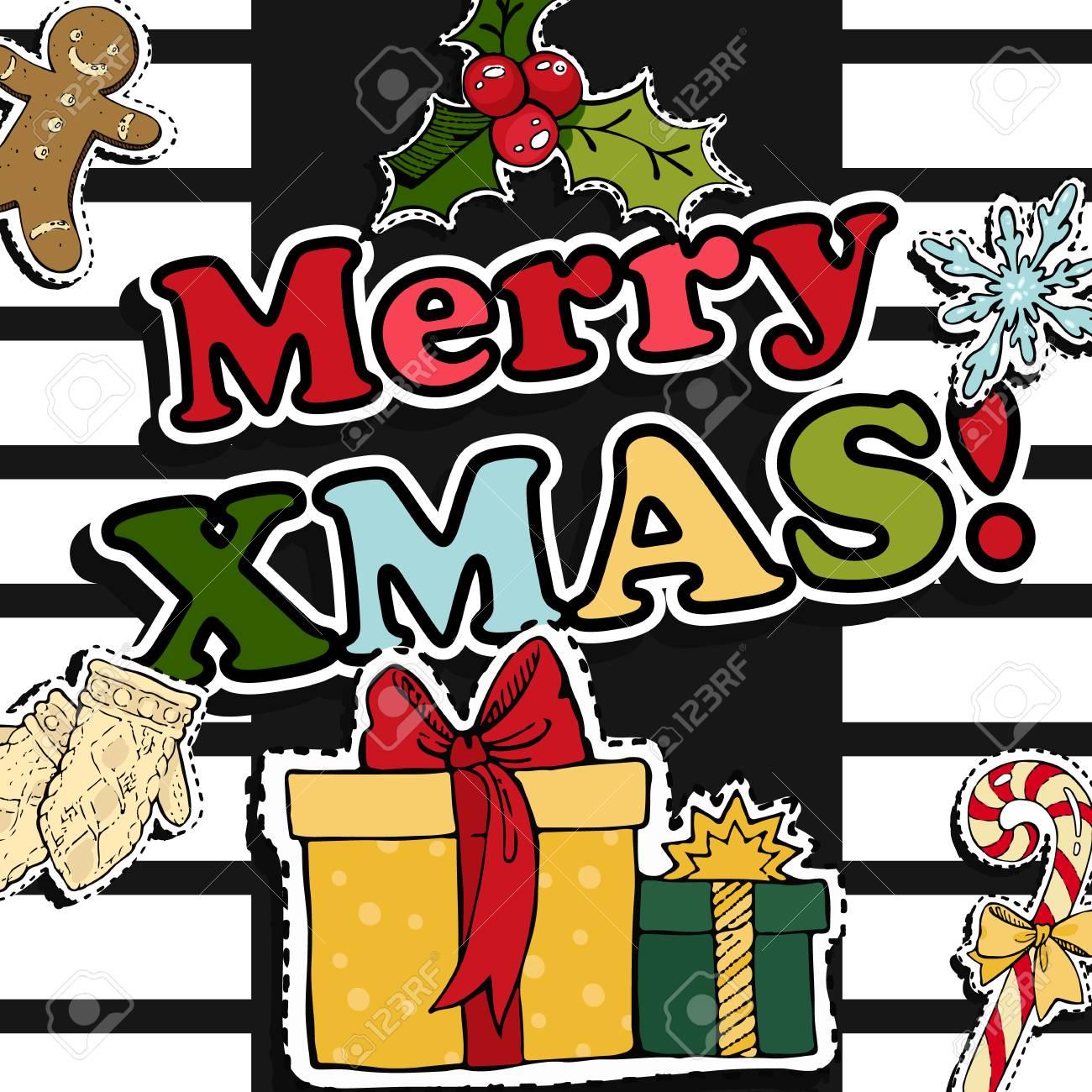 Adesivi Buon Natale.Disegno Di Cartolina D Auguri Di Buon Natale Con Badge Di Patch Retro Di Natale Adesivi Illustrazione Vettoriale