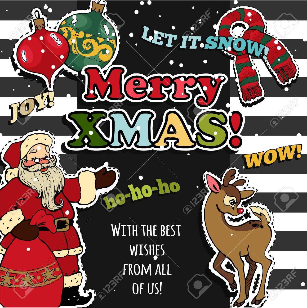 Adesivi Buon Natale.Vettoriale Disegno Di Cartolina D Auguri Di Buon Natale Con Badge Patch Retro Adesivi Illustrazione Vettoriale Image 67182430