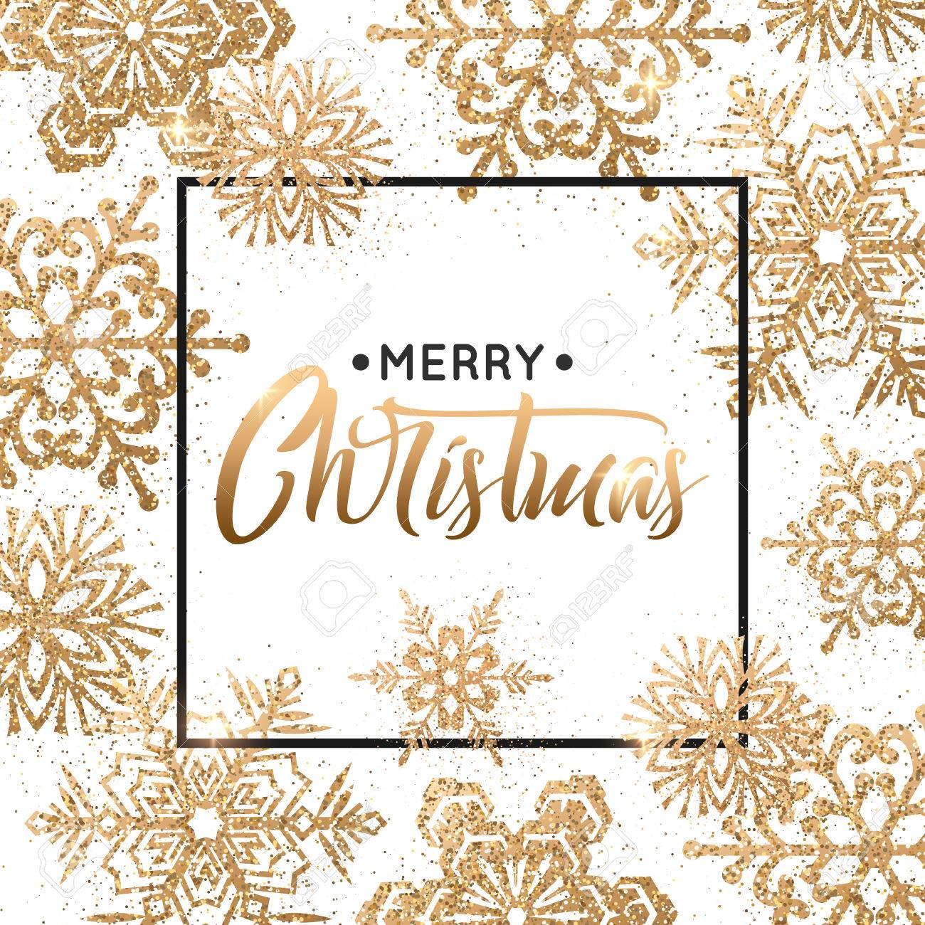 Elegant Christmas background with gold snowflakes for greeting card, holiday design. - 67182849